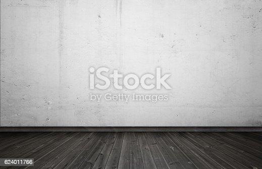 istock Empty interior for design, white concrete wall and black wooden 624011766