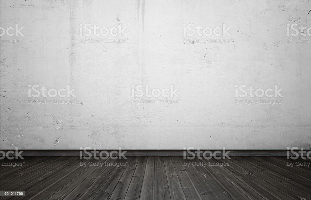 Empty interior for design, white concrete wall and black wooden stock photo