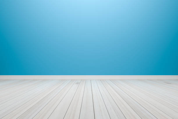 empty interior light blue room with wooden floor - hellblaues zimmer stock-fotos und bilder