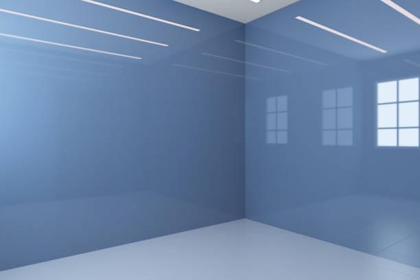 Interior vazio do banheiro azul com paredes lustrosas. Porta marrom.. rendição 3D - foto de acervo