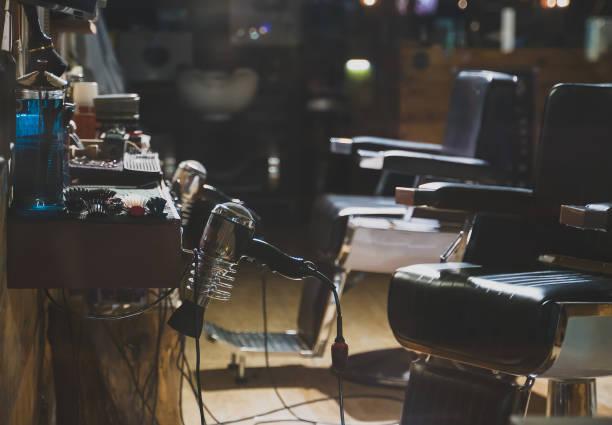 Empty interior of modern hairdressing salon. stock photo