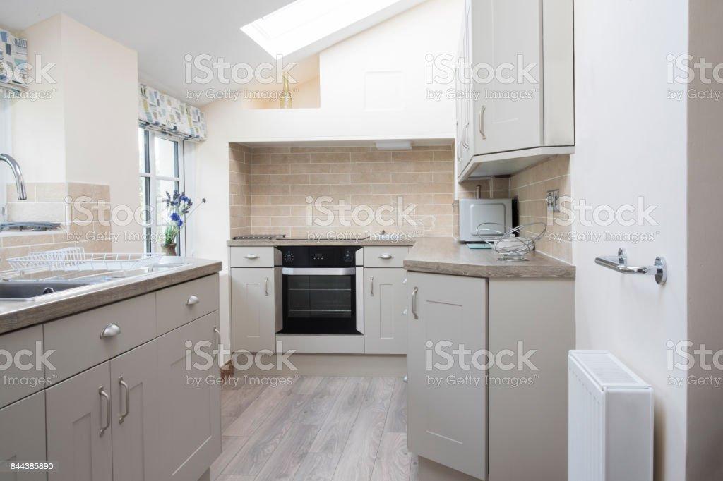 Empty Interior Of Modern Kitchen In Home stock photo
