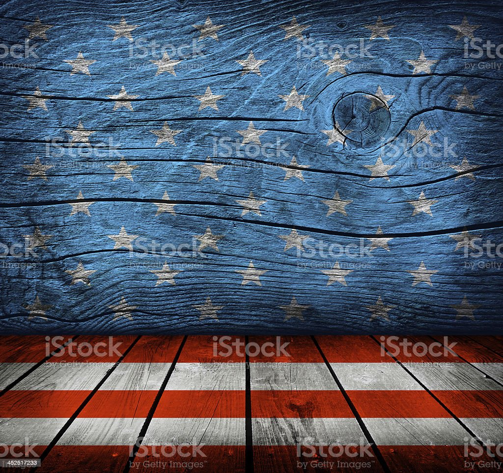 empty interior room with american flag colors stock photo