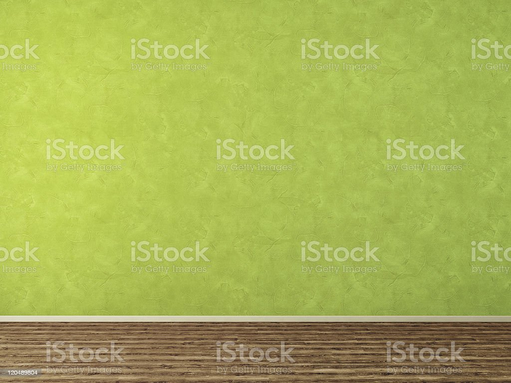 Empty interior room with green wall and dark floor royalty-free stock photo