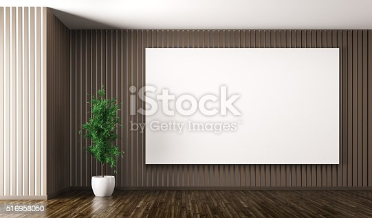istock Empty interior with big poster on the wall 3d render 516958050
