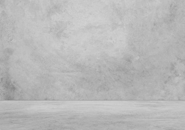interno vuoto con parete e pavimento in cemento - calcestruzzo foto e immagini stock