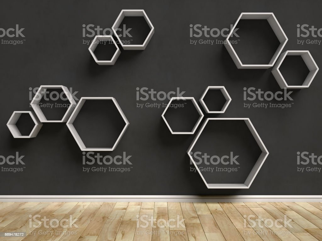 Empty interior with hexagon shelves on the wall 3d rendering stock photo