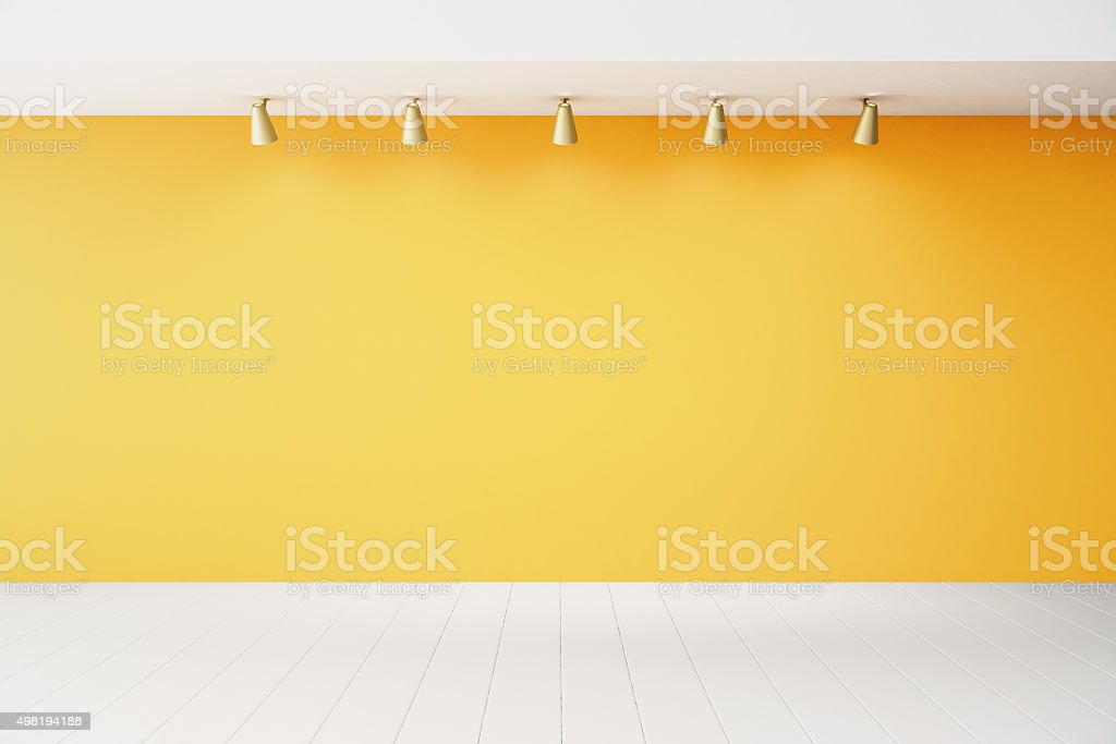 Empty interior with orange wall and white floor stock photo