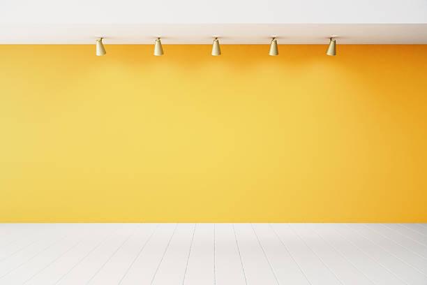 Empty interior with orange wall and white floor stock photo