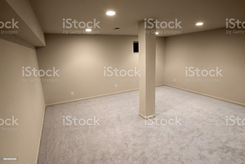 Empty interior with single column in the center royaltyfri bildbanksbilder