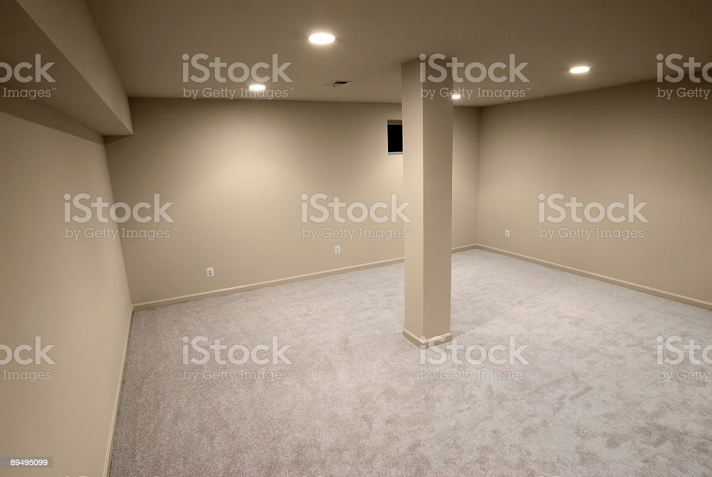 Empty interior with single column in the center stock photo