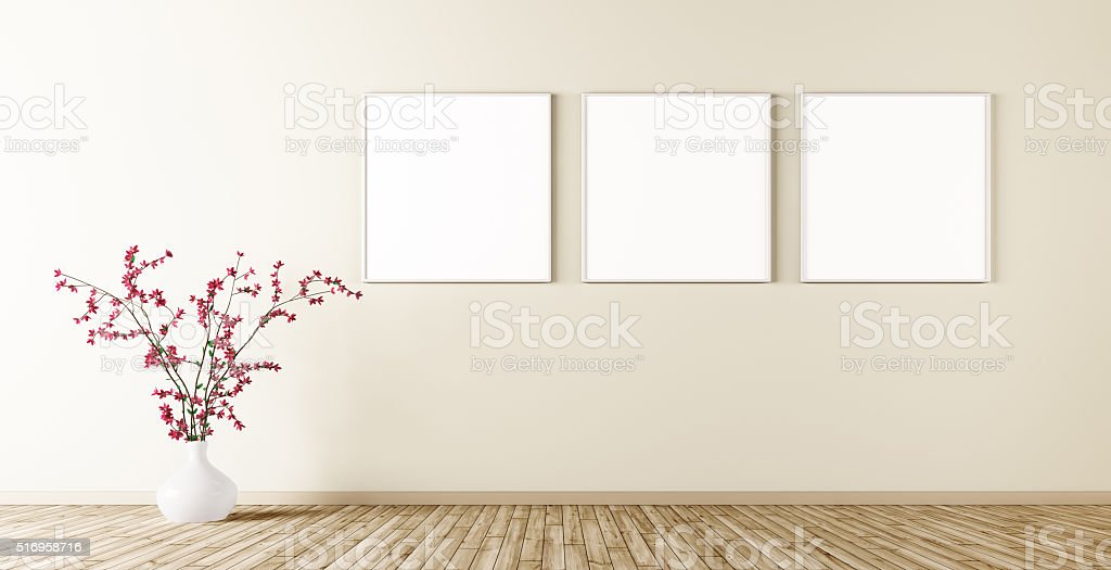 Empty interior with three posters on the wall 3d render stock photo