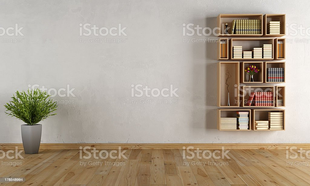 Empty interior with wall bookcase stock photo