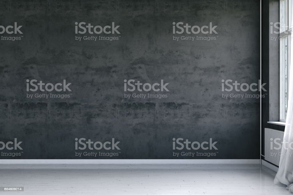 Empty interior with weathered concrete wall stock photo