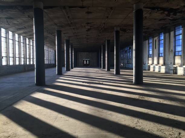 Empty Interiors of an old factory stock photo