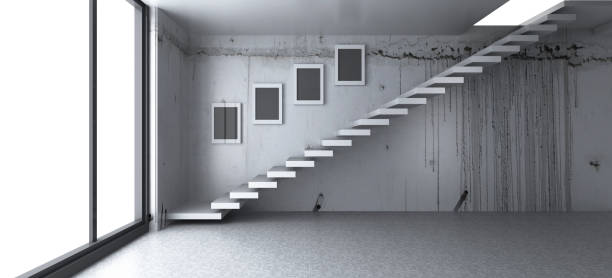 Empty interiors with a staircase stock photo