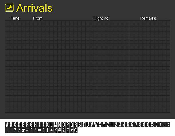 empty international airport arrivals board - arrival stock photos and pictures