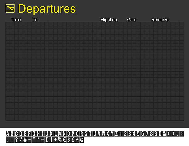 empty international airport departures board - arrival departure board stock photos and pictures