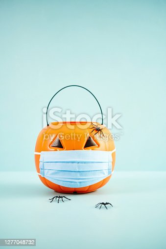 Empty Jack O'Lantern Trick or Treat Bucket with Face Mask Halloween Background