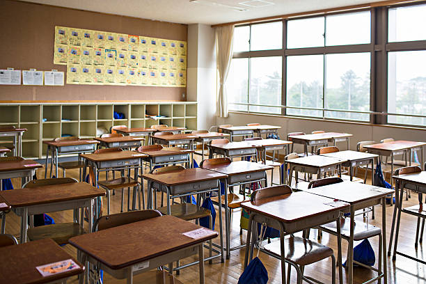 Empty Japanese classroom Empty Japanese classroom. empty desk stock pictures, royalty-free photos & images
