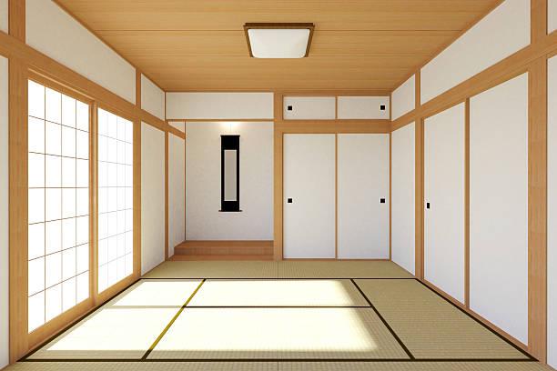 空の日本のリビングルームのインテリアに、伝統的でシンプルなデザイン - 畳 ストックフォトと画像