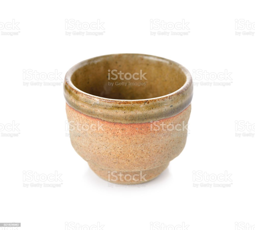 empty Japanese tea cup on white background stock photo