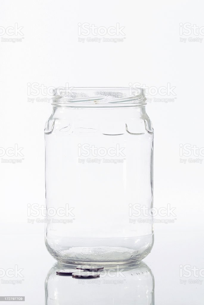 Empty jar for money tips with white background royalty-free stock photo