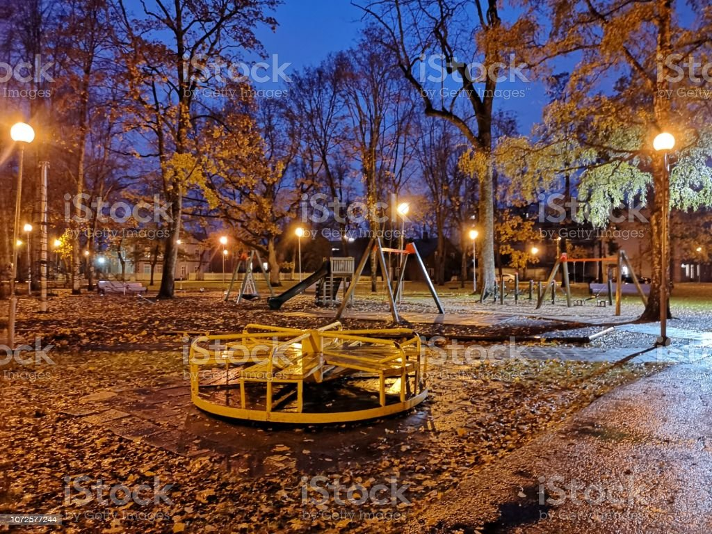 Empty Kids Playground In Autumn Stock Photo Download Image Now Istock