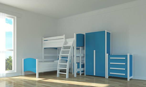 leere zimmer für kinder - etagenbett weiss stock-fotos und bilder