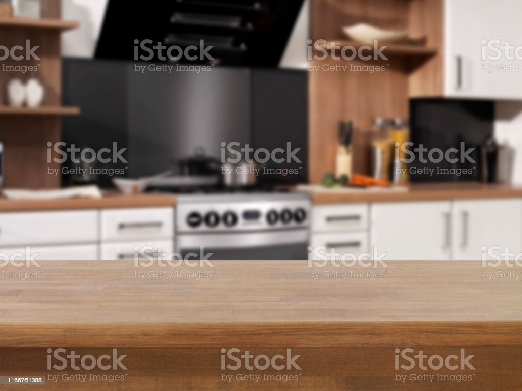 Empty kitchen counter in. Domestic kitchen
