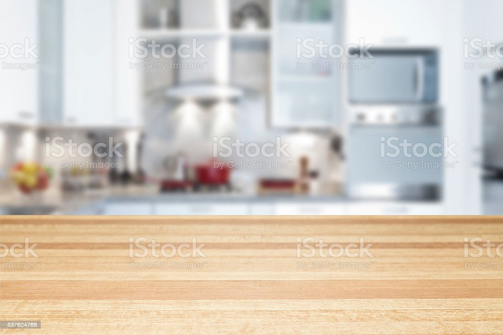 Empty kitchen countertop stock photo