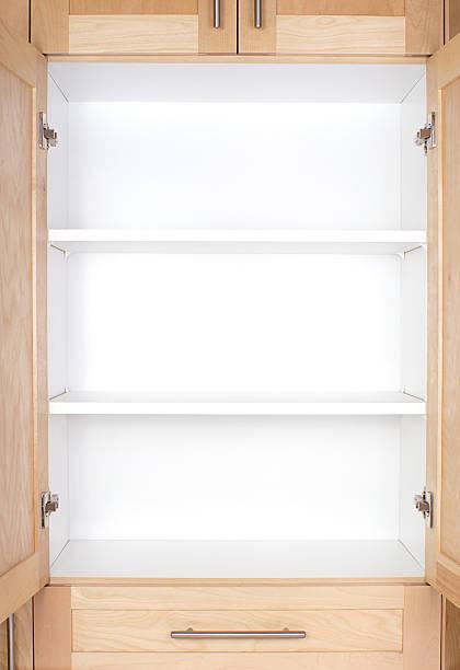 Empty kitchen cupboard stock photo