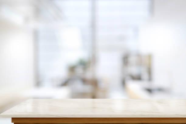 leere küche granit tisch innen hintergrund. - regal schwarz stock-fotos und bilder