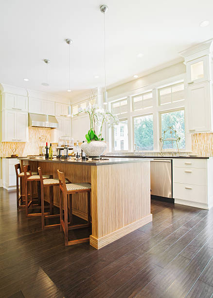 Empty kitchen in a modern home stock photo