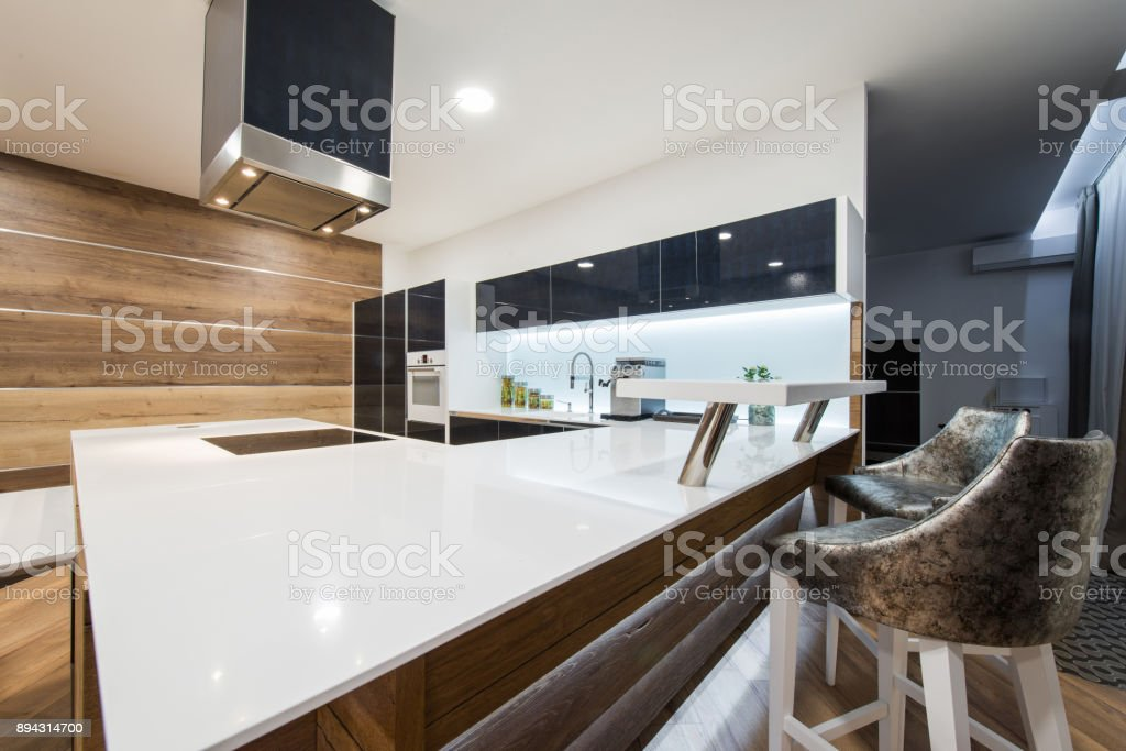 Empty Kitchen Island And Stools Stock Photo - Download Image Now
