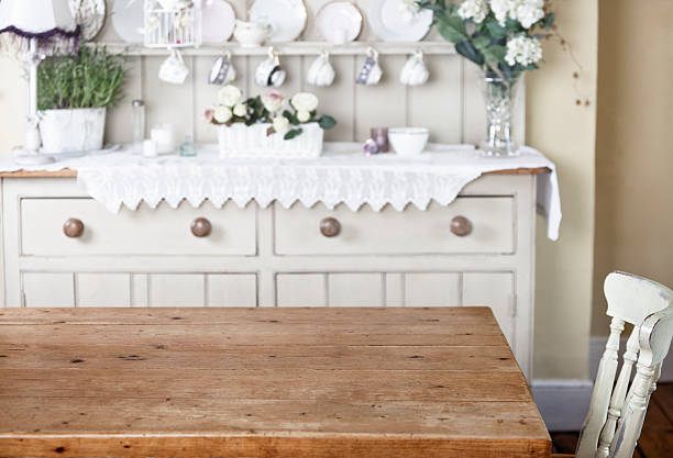 Empty kitchen table in cottage style home Table is blank for possible product placement lace textile stock pictures, royalty-free photos & images