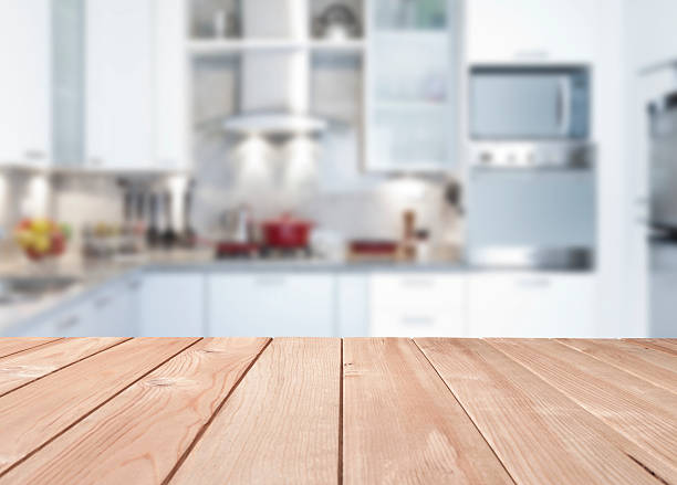 empty kitchen wood countertop - diminishing perspective stock photos and pictures