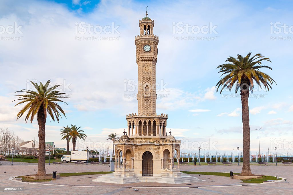 Empty Konak Square view with historical clock tower. Izmir stock photo