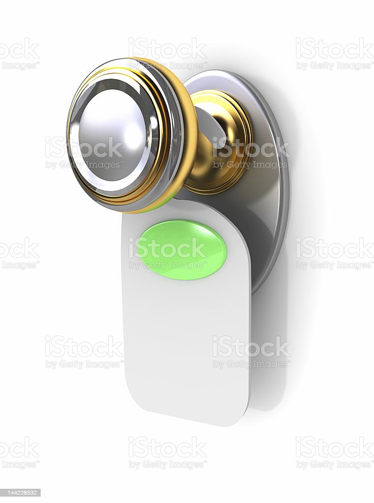 Empty label on a door handle royalty-free stock photo