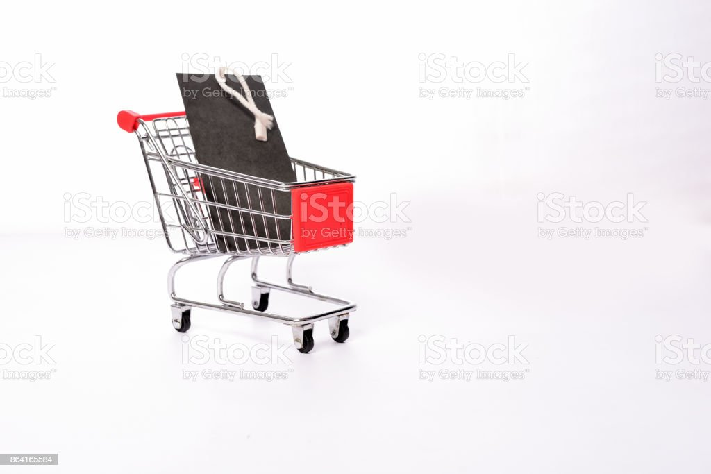 Empty label on shopping cart royalty-free stock photo