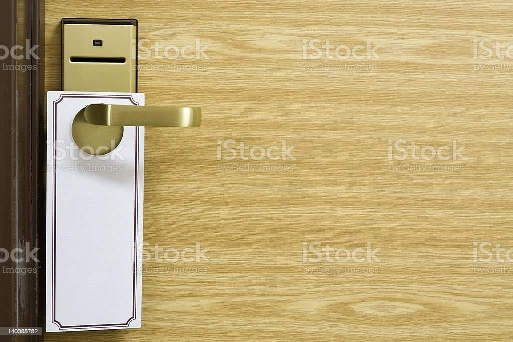 Empty label on the door handle stock photo