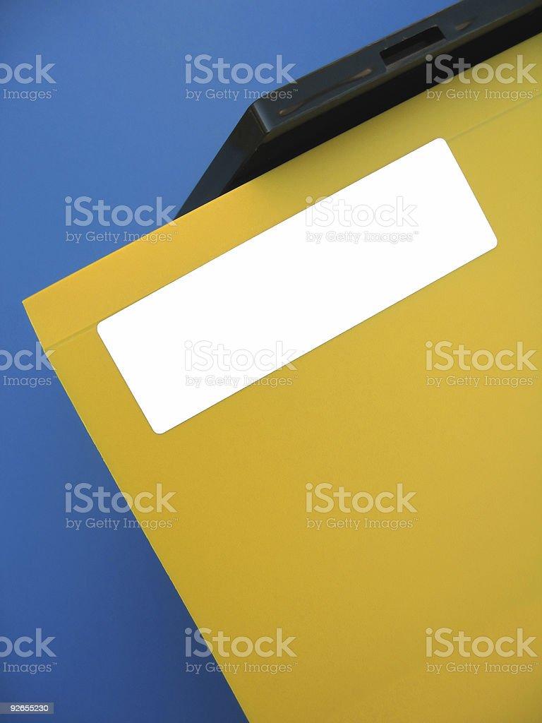 Empty Label on Yellow Folder royalty-free stock photo