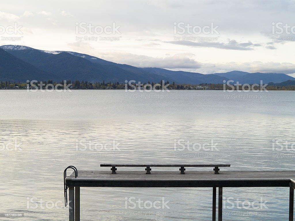 Empty Lake Pier stock photo