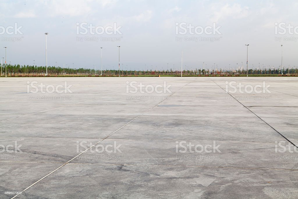 Empty large concrete area stock photo