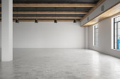 Empty Large Room with Windows. 3d render