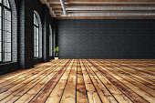 Empty white brick wall with wooden parquet and black brick wall