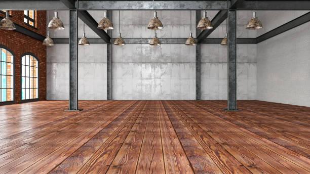 Empty Large Warehouse stock photo