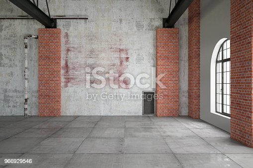 Empty white brick wall with edison lights