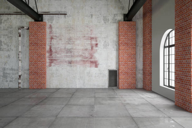Empty Large Warehouse Empty white brick wall with edison lights warehouse interior stock pictures, royalty-free photos & images