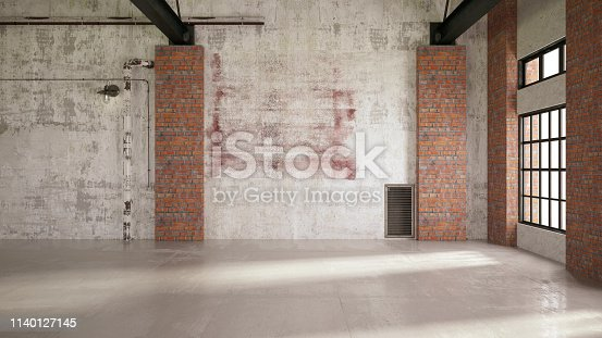 Empty Large Warehouse.3D Render